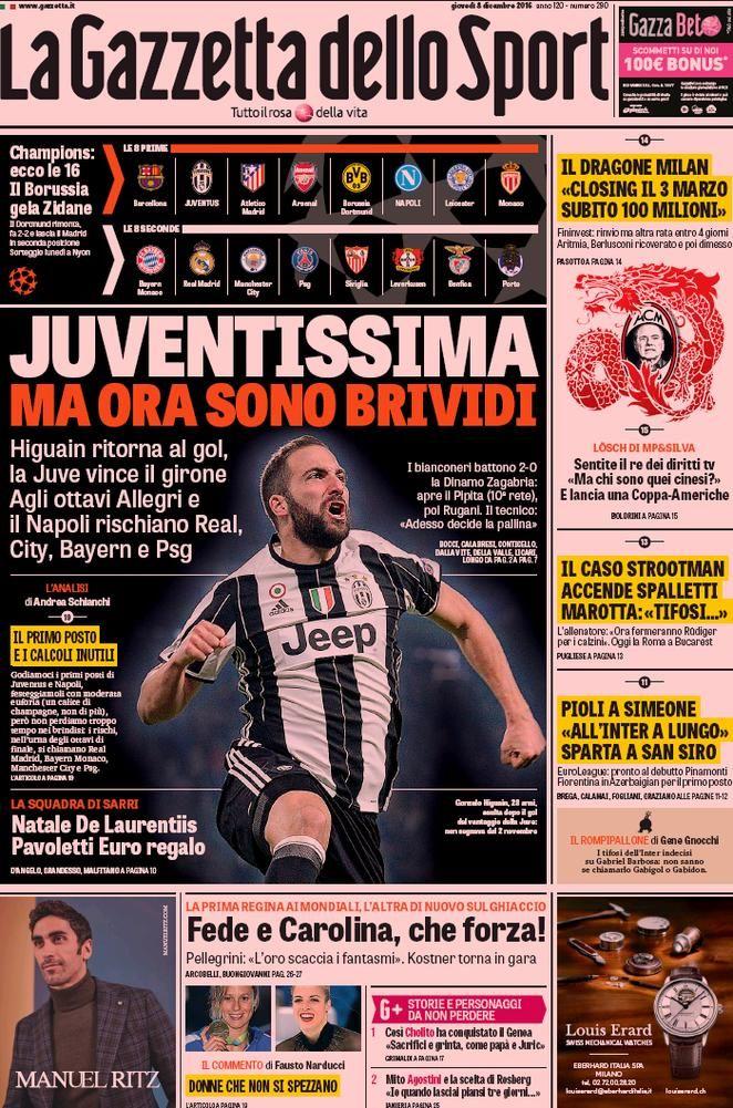 Prima Pagina La Gazzetta dello Sport 08/12/2016 Sport
