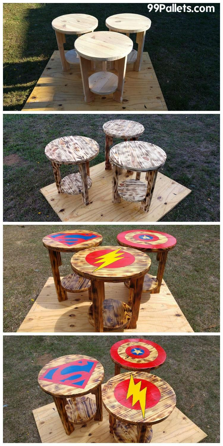 Diy pallet sofa with table 99 pallets - Pallet End Tables Side Tables