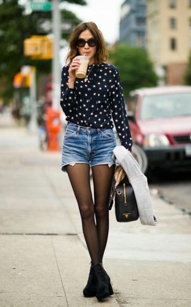 Con Estrellas Blancas Jeans Blusa Negras Short Negra Pantys qtvw4