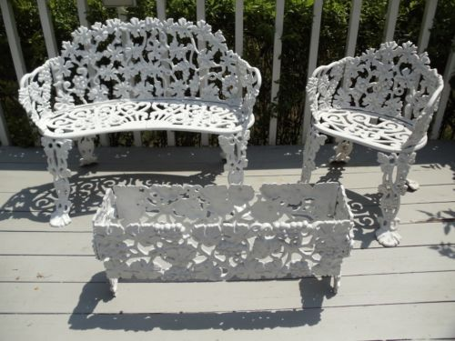 Vintage Cast Iron Patio Furniture Settee Chair Planter Grape Design Ebay Cast Iron Patio Furniture Iron Patio Furniture Wrought Iron Furniture