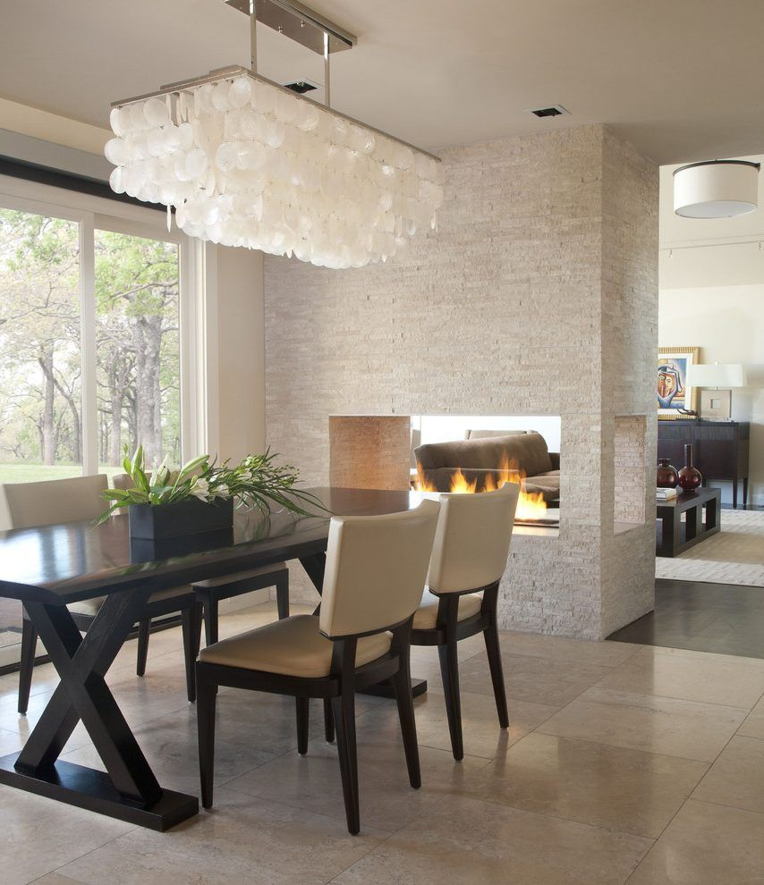 Rectangular chandelier over table dining room contemporary with ...