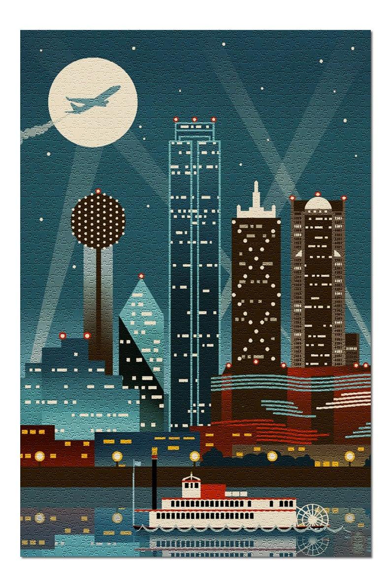 Dallas Texas Retro Skyline no text 19x26 Premium 1000