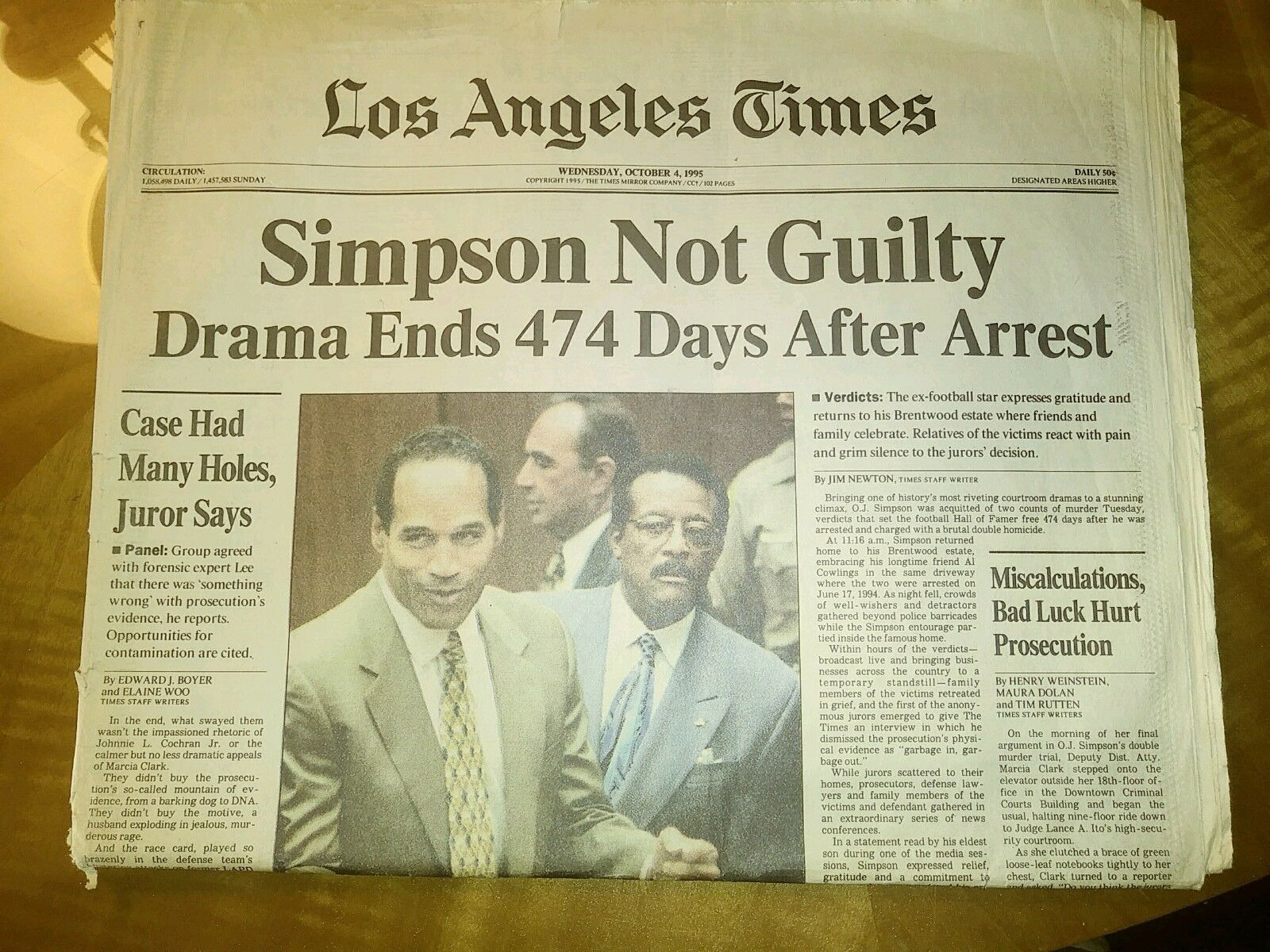 L A Times O J Simpson Not Gulty Biggest Criminal Trial Ever Oct 4 1995 Rare La Times Newspaper Hardcover Book Vintage Newspaper