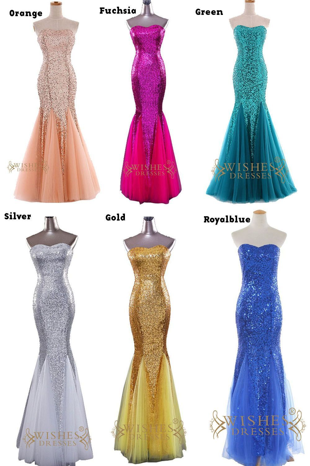 Sexy mermaid orange sparkle sequins gown formal dress prom dress