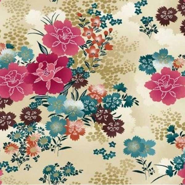 tissu japonais asami   motif   pinterest   dahlias et crème