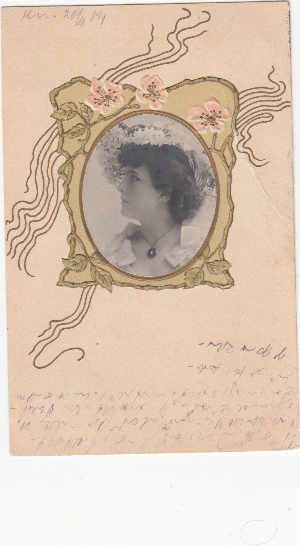 Authentic Art Nouveau Framed Portrait Postcard Embossed Undivided by Museumofantiquepaper on Etsy https://www.etsy.com/listing/222704739/authentic-art-nouveau-framed-portrait