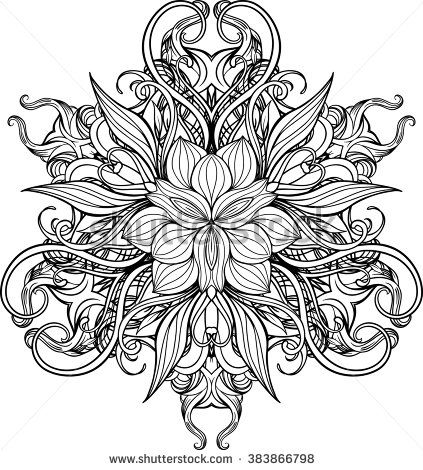 image of mandala made of floral elements. adult coloring