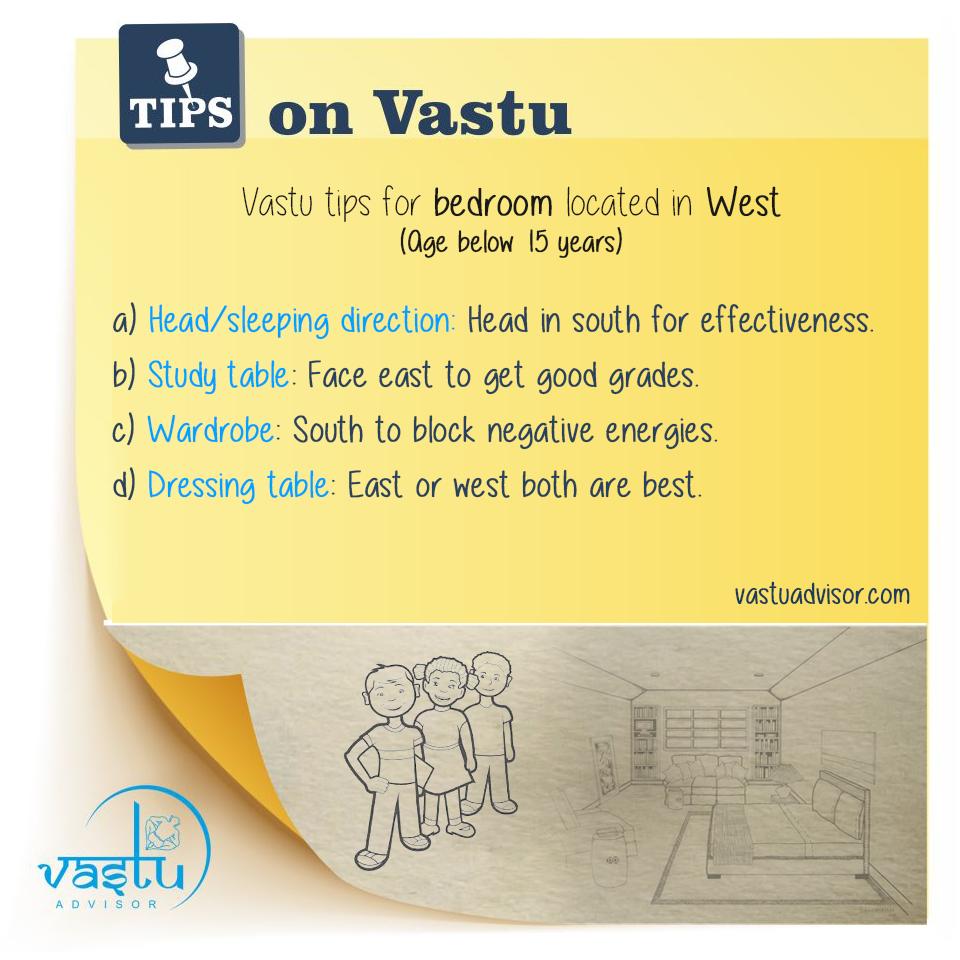 Vastu tips for bedroom located in West (Age below 15