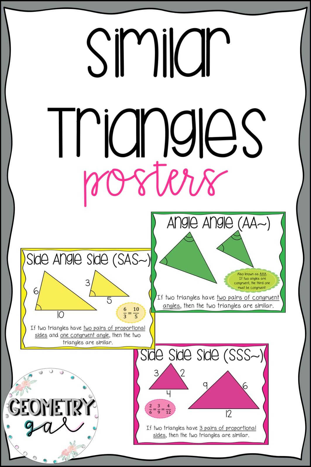 Similar Triangles Posters Geometry Word Wall