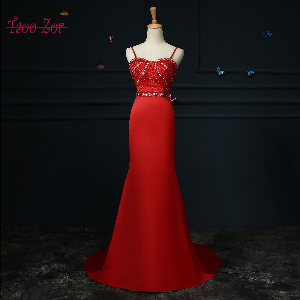 Click to buy ucuc taoo zor red mermaid evening dresses with