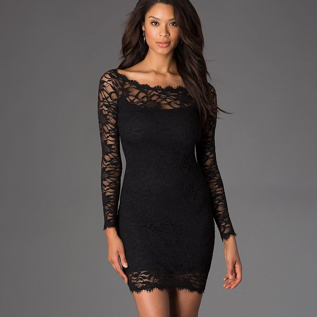 Romantic black offtheshoulder lace bodycon dress clothes