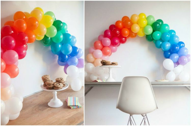 d coration en ballons gonflables multicolores arc en ciel. Black Bedroom Furniture Sets. Home Design Ideas