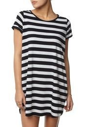 tina tshirt dress, MACEY STRIPE BLACK/WHITE/GREY MARLE