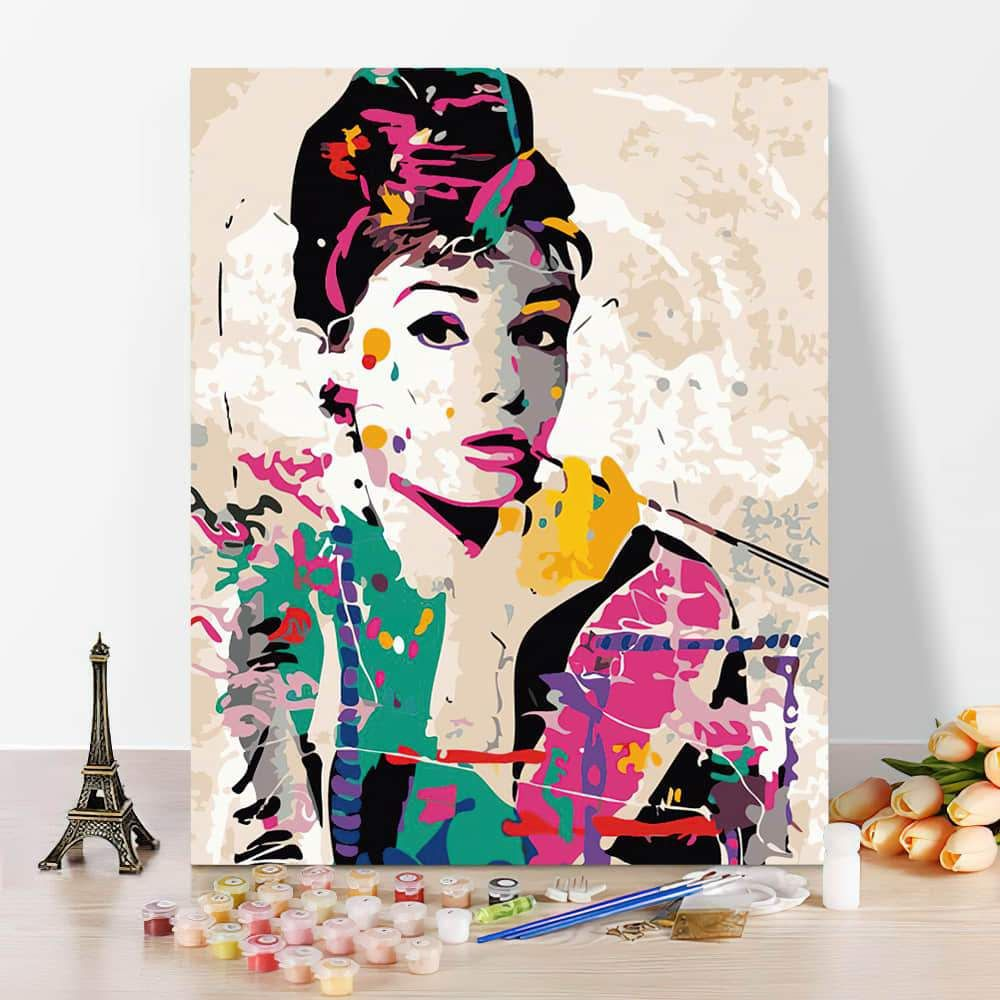 Photo of Audrey DIY Hand Painting Colouring Oil Painting – 50*65cm / Combo inner frame