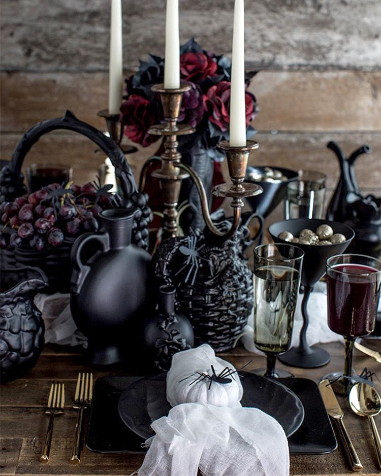 How fun it is to create an over-the-top black gothic table setting ...