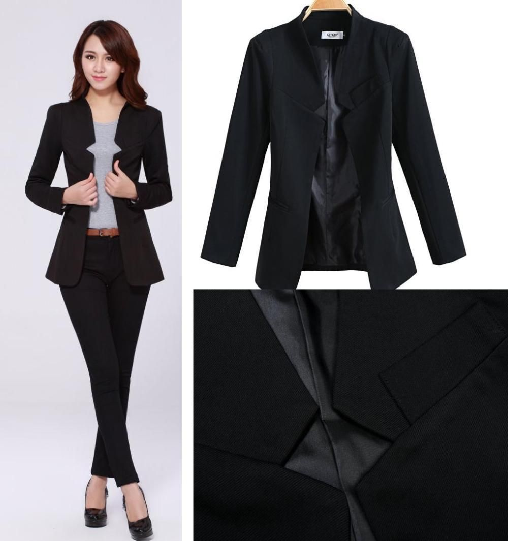 2014 Fashion Business Suits For Office Ladies black color Formal ...