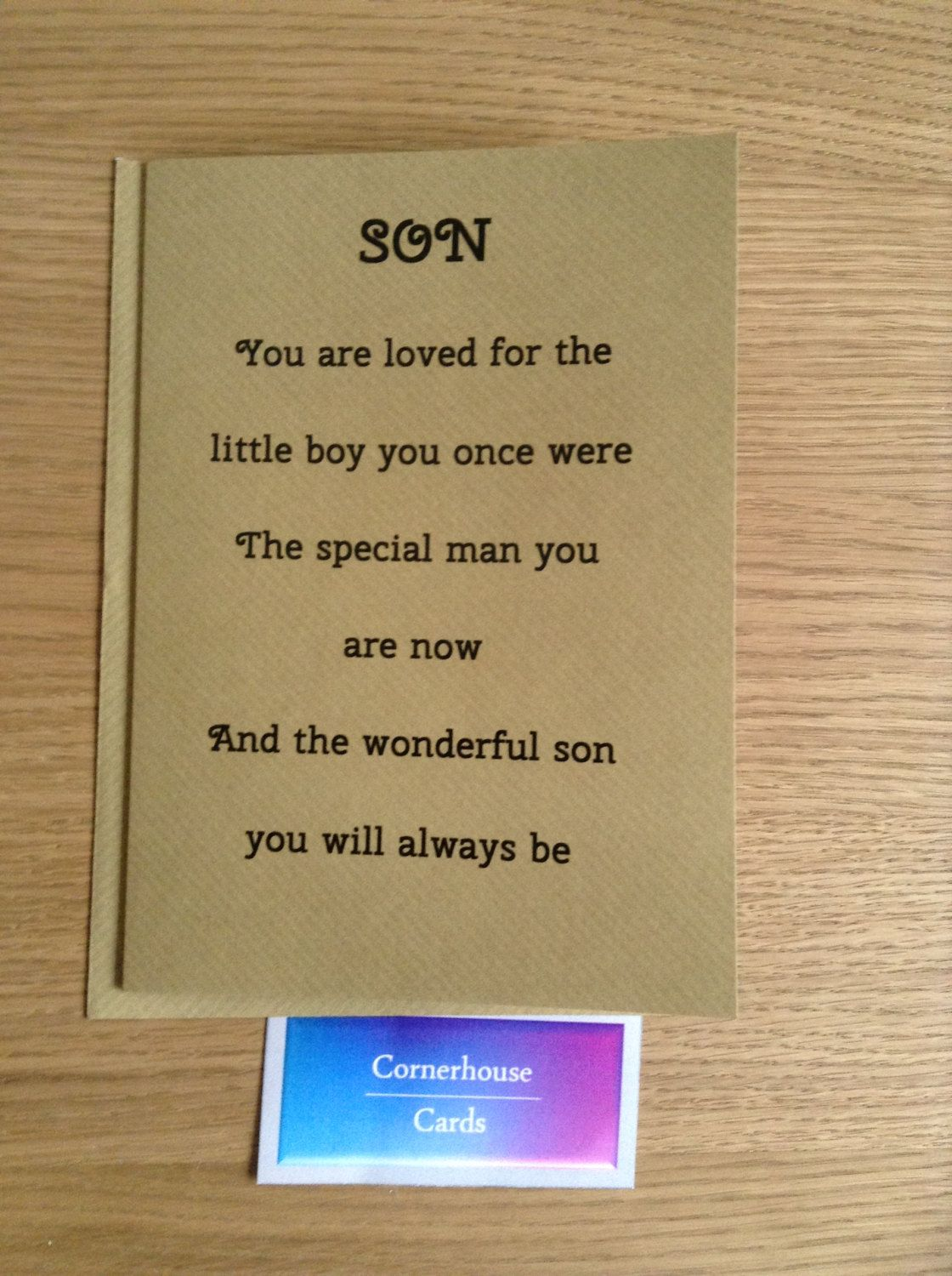 Card For Grown Up Son Special Sons Birthday By Cornerhousecards On