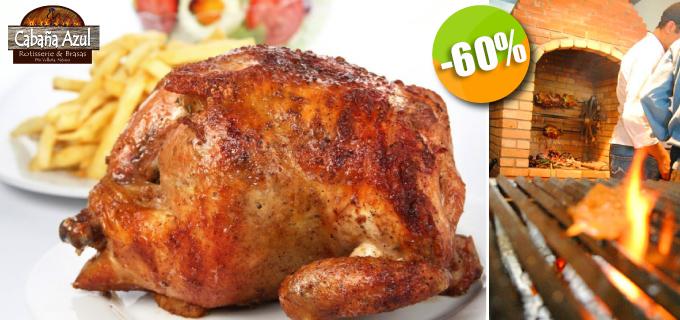 La Cabaña Azul - $66 en lugar de $165 por 1 Pollo Rostizado al Carbón y Leña con Salsa Chimichurri + Aderezos Peruanos y Pan de la Casa! Click http://ow.ly/tt8ew