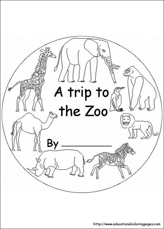 Educational fun kids coloring pages and preschool skills for Free zoo animal coloring pages