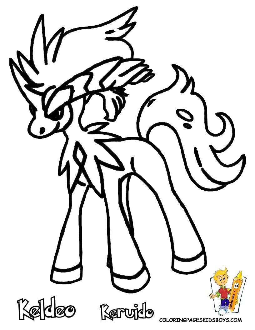 Pokemon coloring pages liepard - Pokemon Coloring Pages Keldeo Cartoon