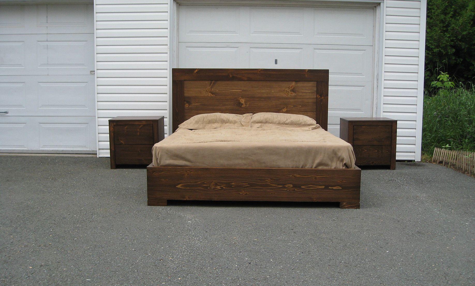 Base de lit en bois l 4 in 2019 t tes de lit fabriquer soi m me base de lit en bois lit for Lit en bois massif design