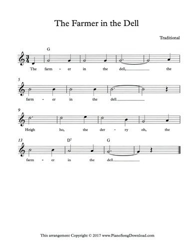 The Farmer In The Dell Free Lead Sheet With Melody Chords And