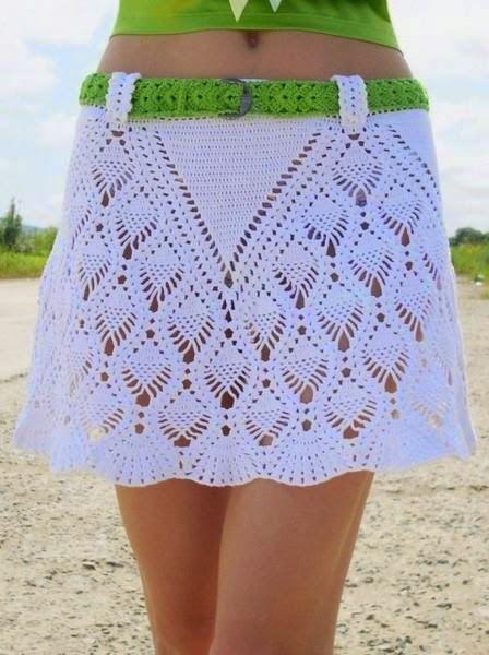 c9e8bbc01 Muy bella falda con diseño de piñas | Crochet y dos agujas ...