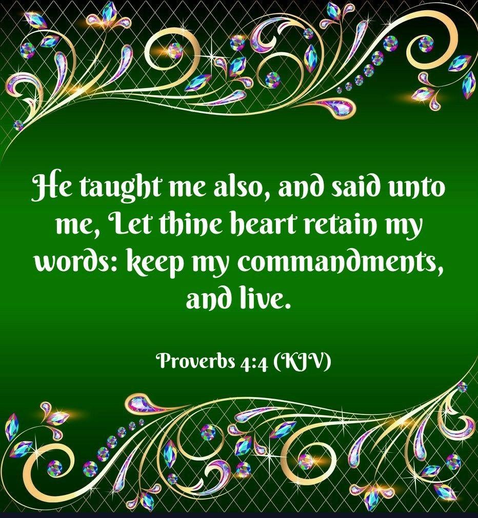Proverbs 4:4 (KJV) | SCRIPTURES | Holy bible king james, Word of god
