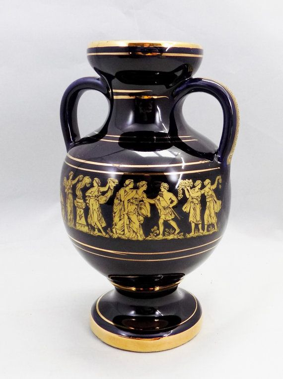 Blue And Gold Greek Vase Made In Rhodos Hand Made 24k Gold Hand Painted Vase Appears Black