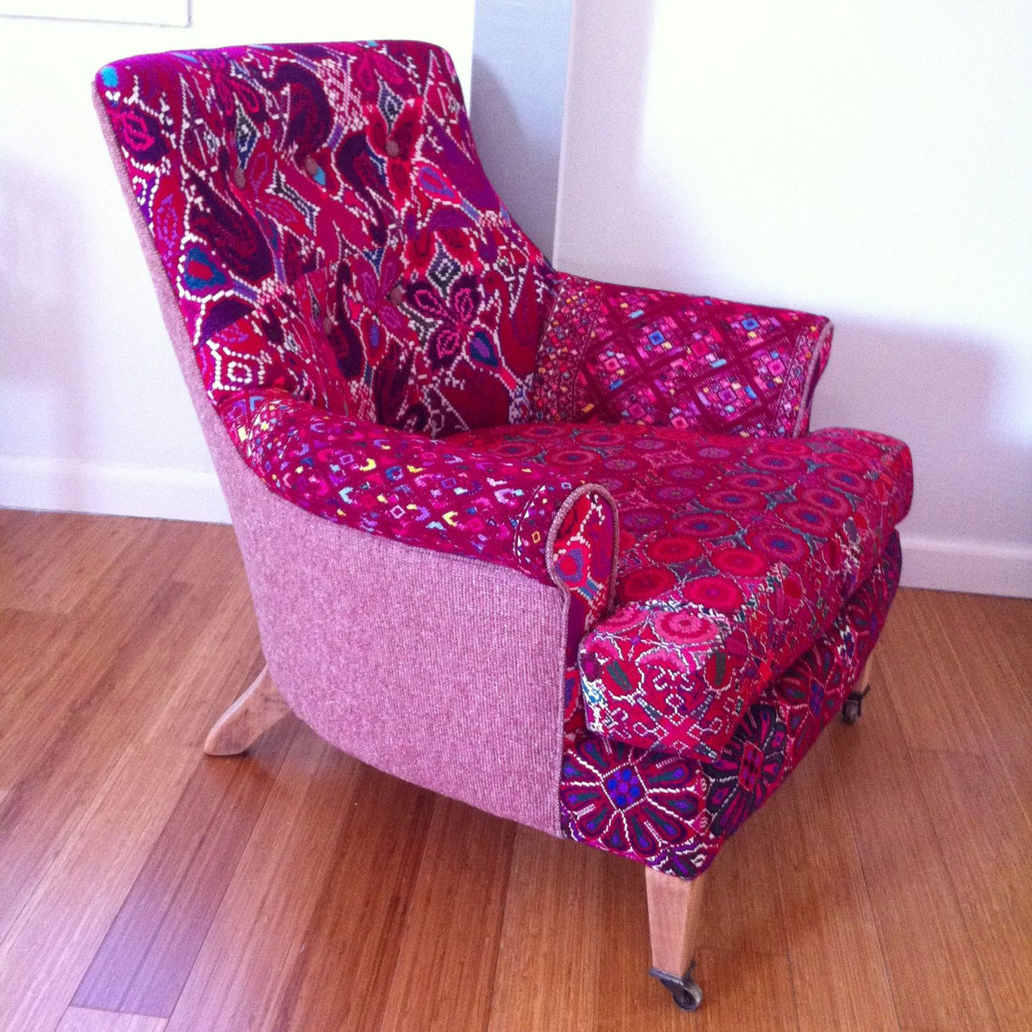 Great chair reupholstered with Mexican huipiles (traditional costume ...