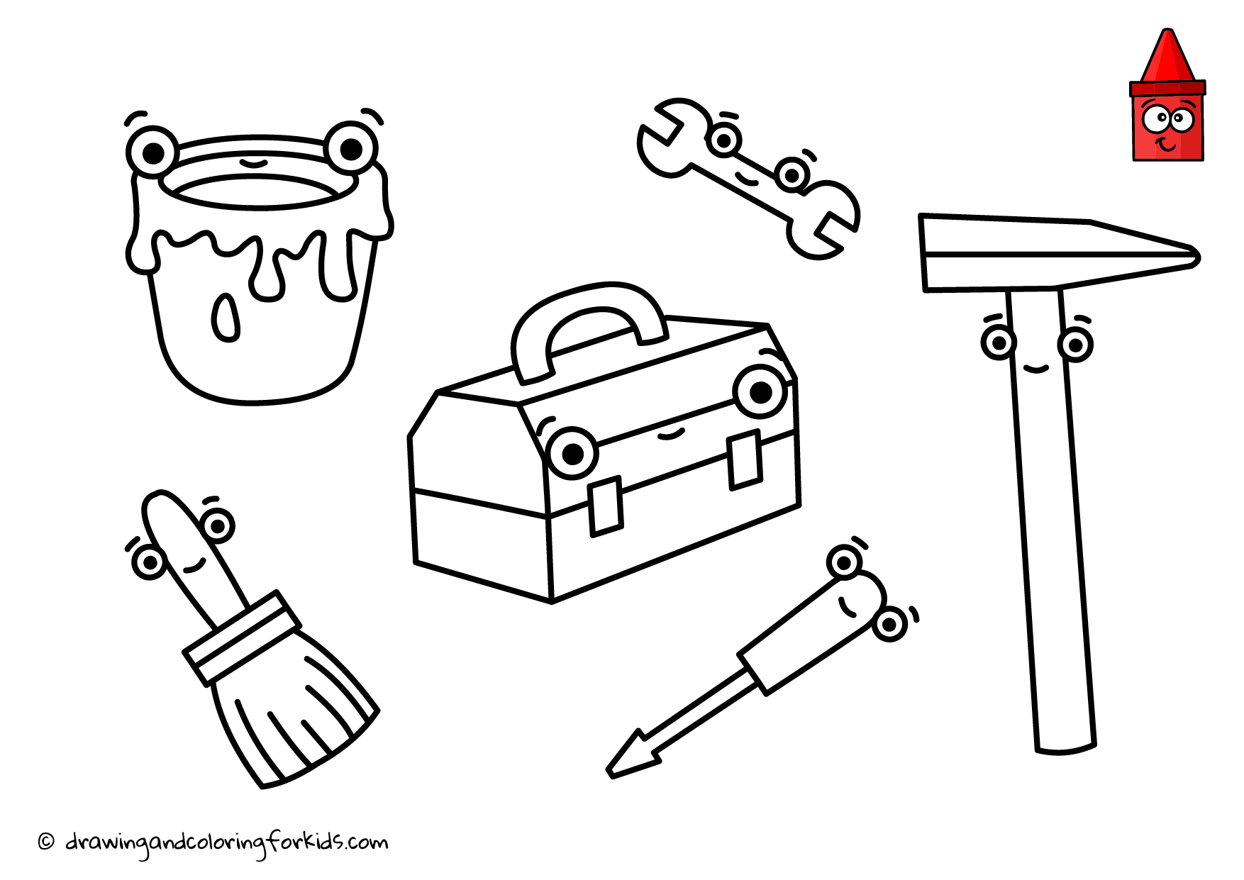 Drawing Tools For Kids| Coloring Page Tools | How to Draw Tools ...