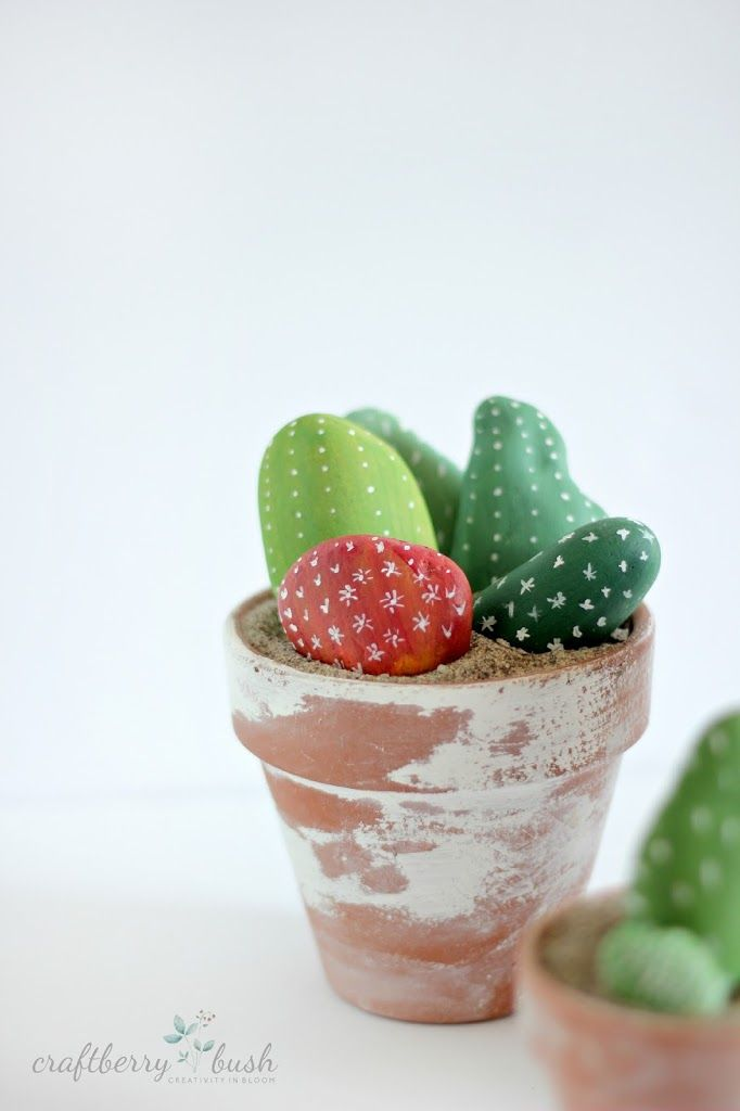 Cactus Made Of Painted Rocks A