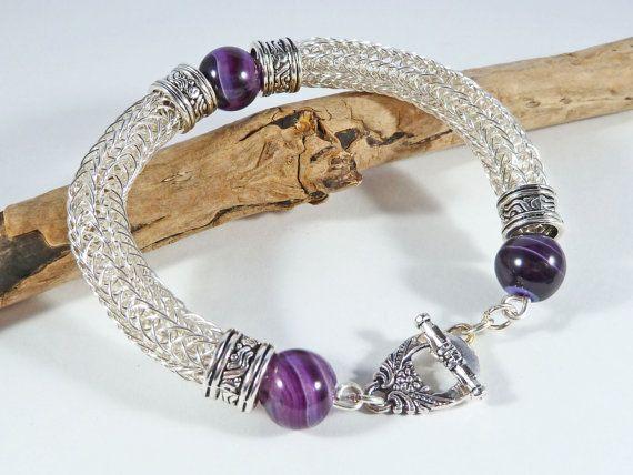 Viking Knit Purple Gemstone Bracelet Viking by BeauBellaJewellery #vikingknit #giftforher #bracelet