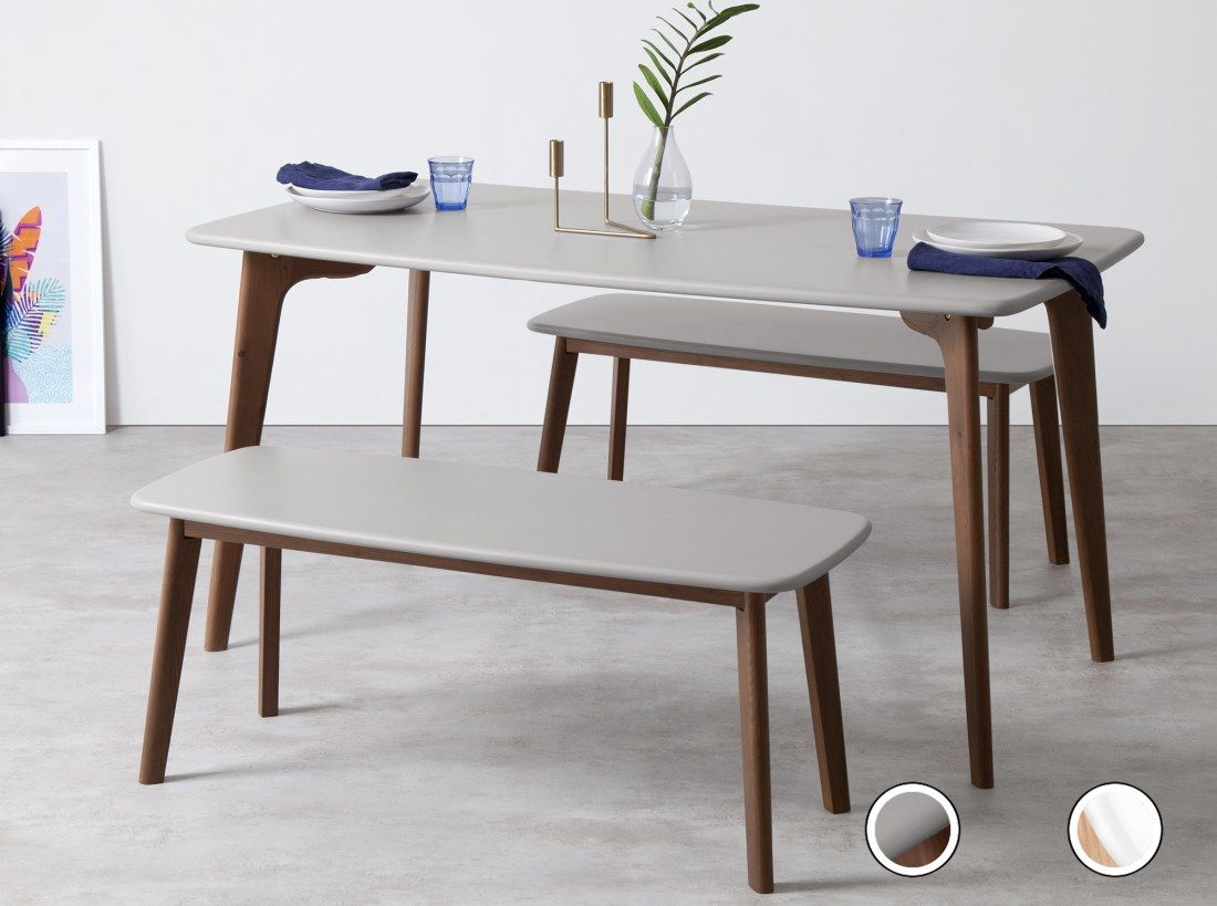 Fjord Rectangle Dining Table Dark Stain Oak And Grey Dining