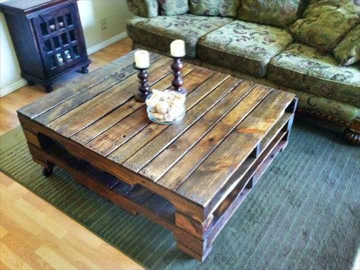 15 adorable pallet coffee table ideas pallet coffee for Skid pallet furniture