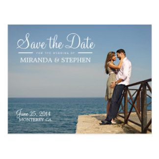 Sweet Modern Wedding Save The Date Photo Postcard  Wedding Save