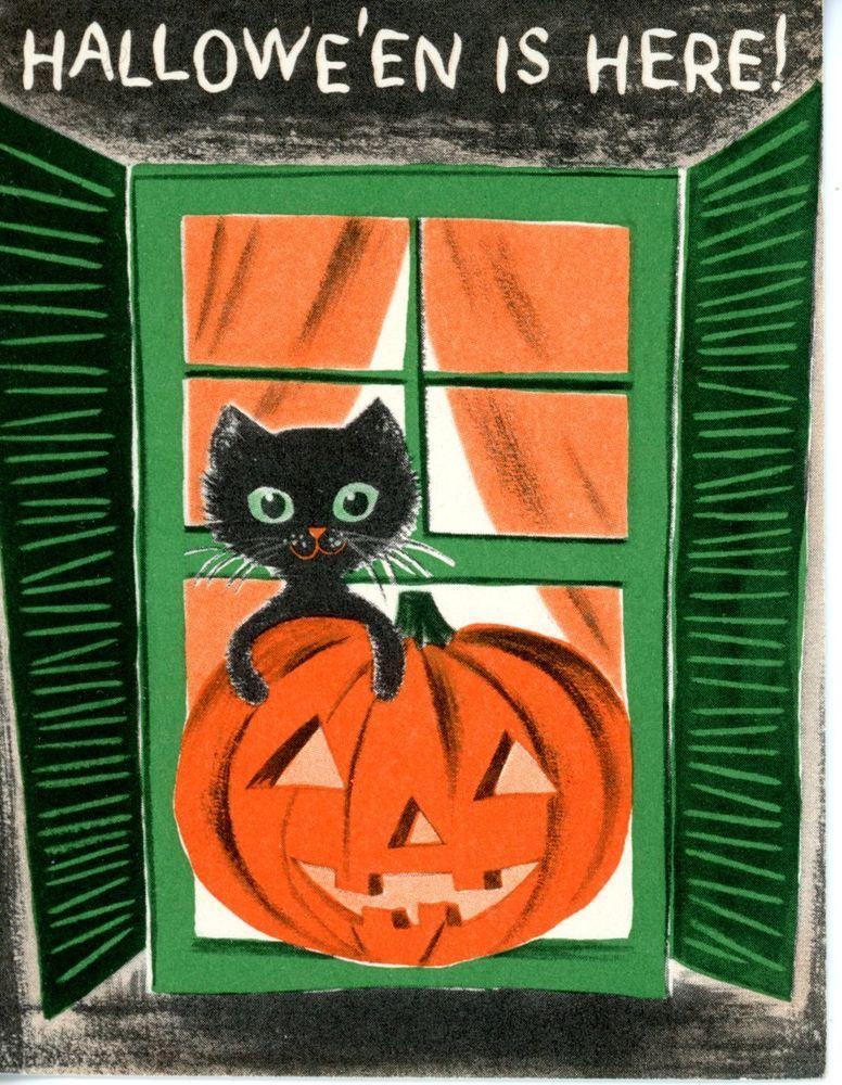 Vintage Norcross Halloween Greeting Card Black Cat & Pumpkin 1954
