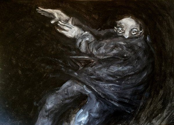 """""""un vértigo"""" /  tintas y acrílicos sobre cartón /  54 cm de base x 38 cm de alto"""