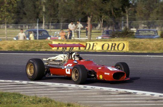 Chris Amon in his Ferrari 312, 1968 Mexican Grand Prix, Mexico City