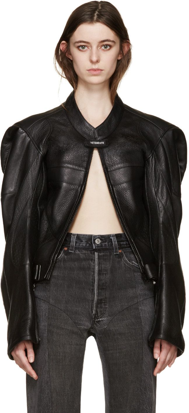 096b81adb Vetements - Black Leather Moto Jacket | Behold 80... | Riders jacket ...