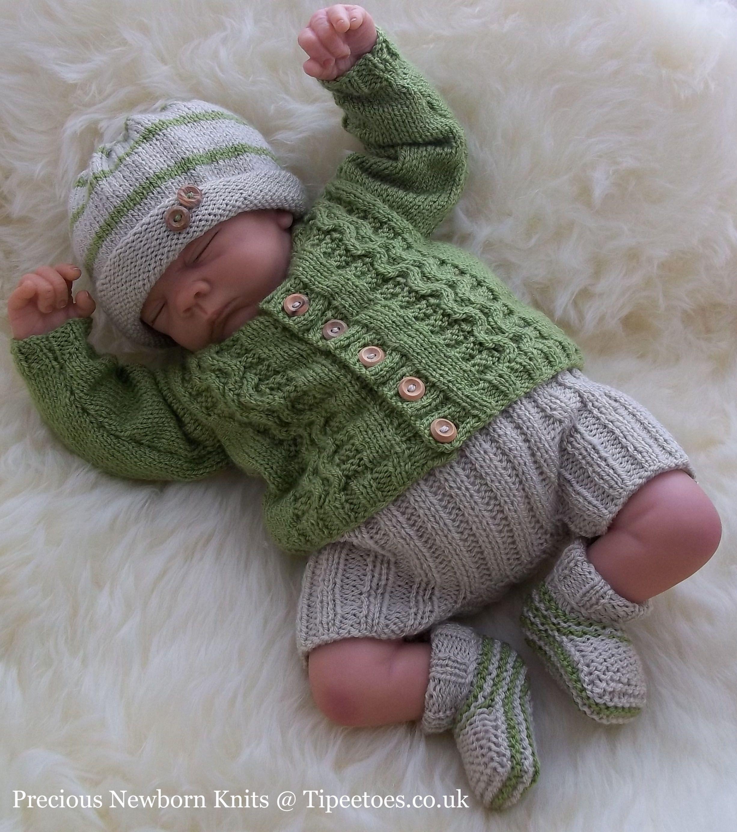 Baby Knitting Pattern TO KNIT Boys Reborn Dolls Cardigan Trousers ...