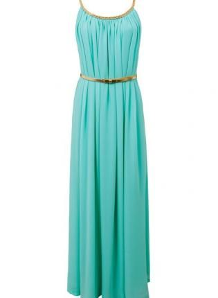 Teal Turquoise Longer Lengths Dress - Turquoise Maxidress with Gold Braided 0b669a8726