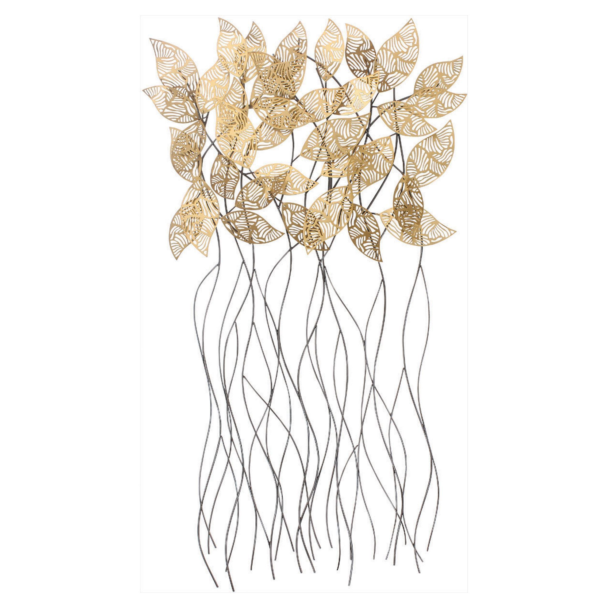 metal large leaf wall decor gold leaves vanegroo info black