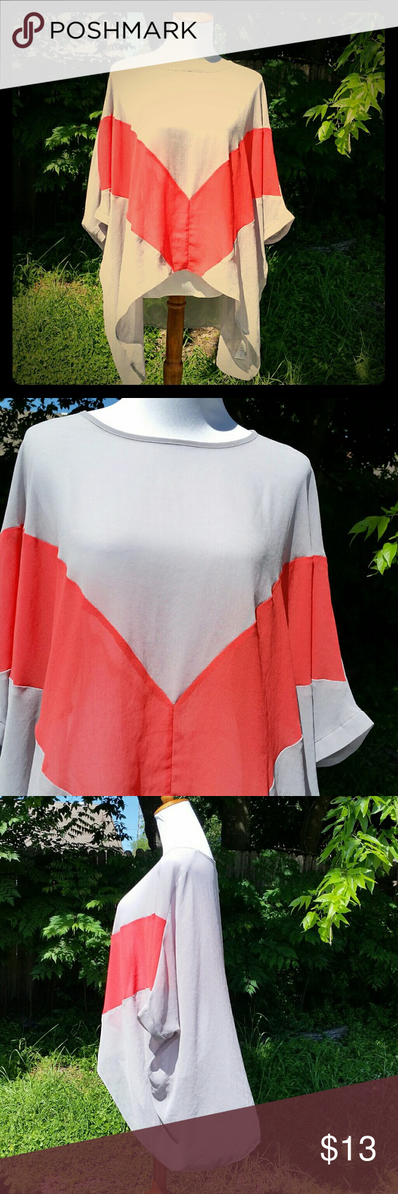 Flowy Silky top This is a very thin, breezy lightweight material. I know it looks huge, but it's meant for a size small person. The arm holes are small. This would look great over a swimsuit, jeans, or even shorts. The possibilities are endless. Super cute. Hot & Delicious  Tops