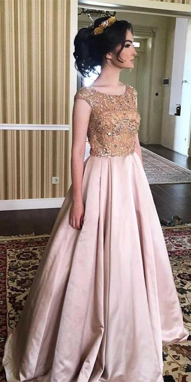 03d09cd4c3 A-Line Round Neck Cap Sleeves Floor-Length Prom Dress with Beading ...