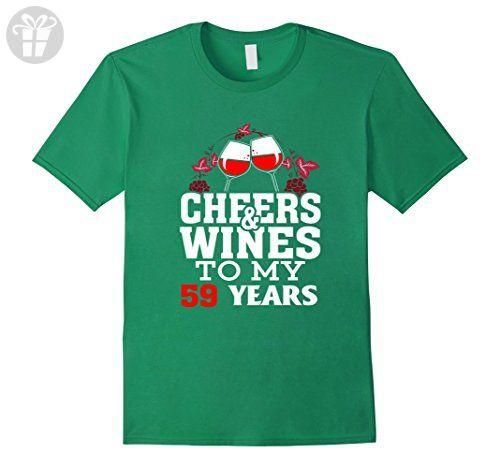 Mens Cheer And Wine To My 59 Years 59 Birthday Celebrate Medium Kelly Green - Birthday shirts (*Amazon Partner-Link)