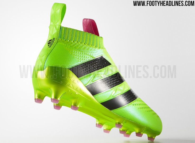 The laceless Adidas Ace PureControl football boots will be launched in a  striking Solar Green / Solar Pink variation.