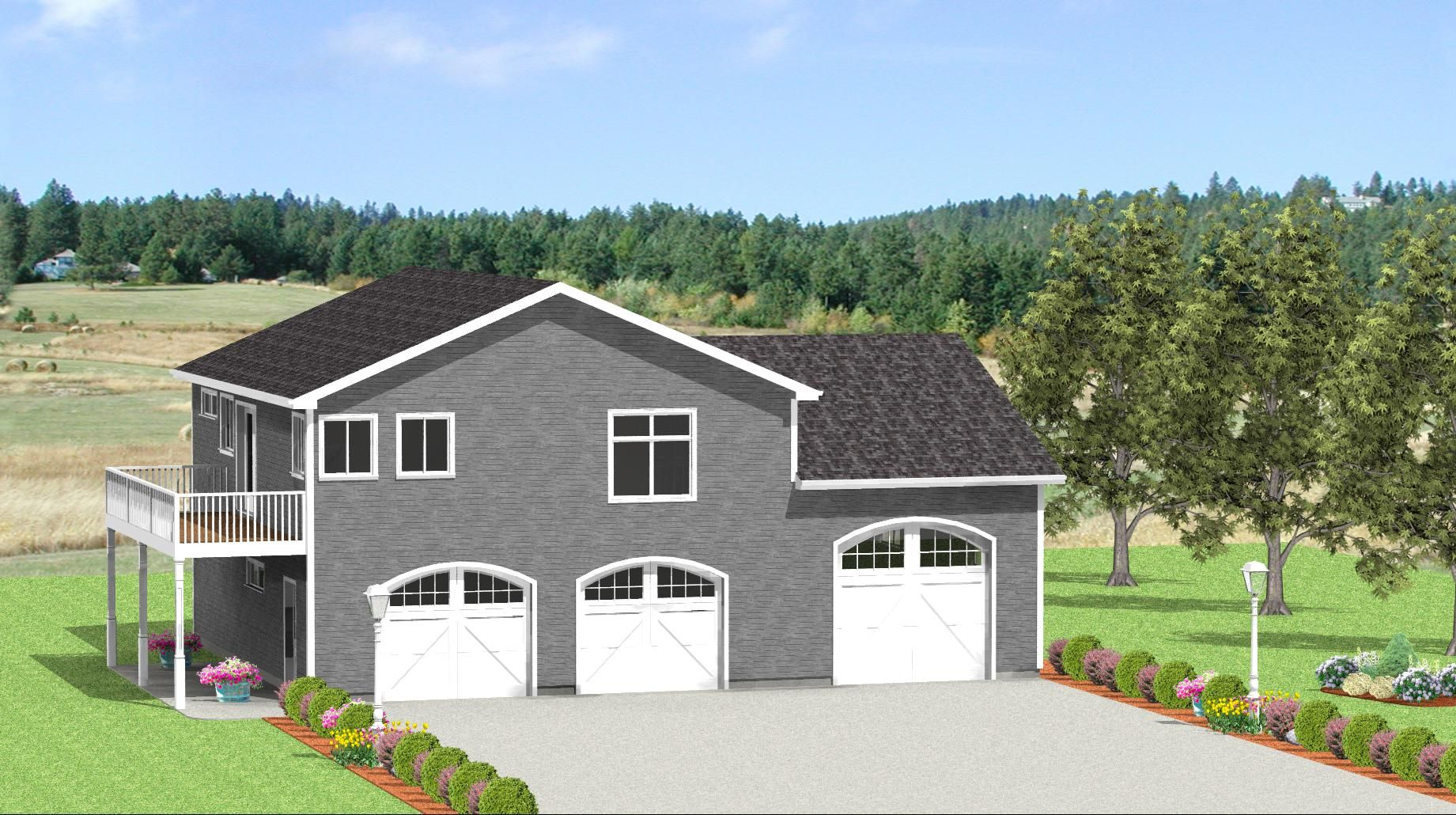 This spacious quadruple garage includes a long space for a ...