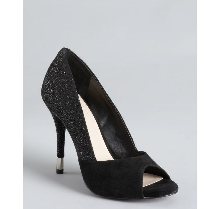 BCBGeneration black suede and pebbled leather 'Izzie' pumps