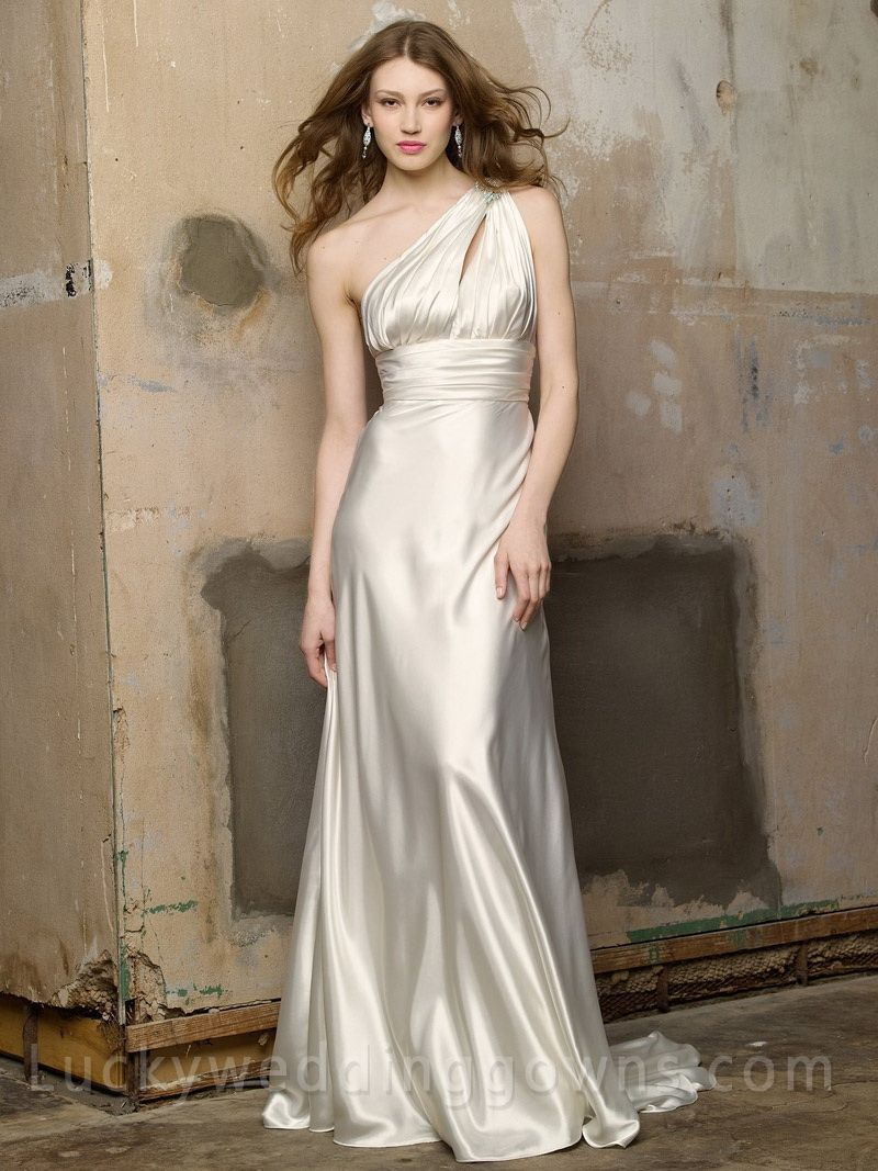 Crystal one shoulder bridal gown with bias skirt my favorite